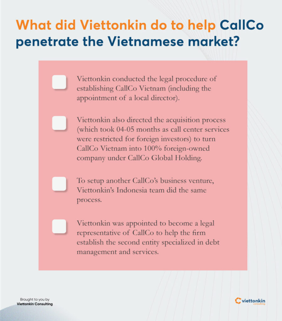 Viettonkin help CallCo establish a venture in Vietnam