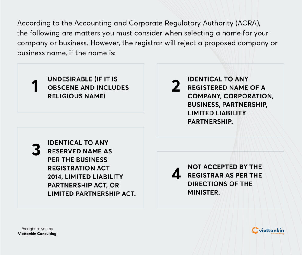 Regulations of company name in Singapore